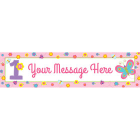 Personalized Sweet First Birthday Girl Banner