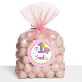 Sweet First Birthday Girl Personalized Cello Bags (Set of 30)