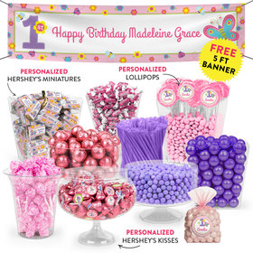 Personalized 1st Birthday Butterflies Deluxe Candy Buffet