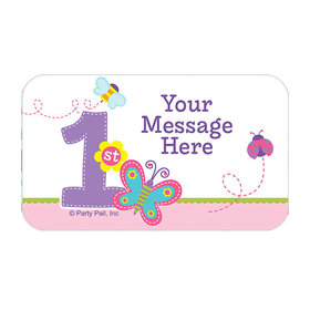 Sweet First Birthday Girl Personalized Rectangular Stickers (18 Stickers)