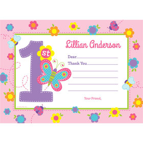 Sweet First Birthday Girl Personalized Thank You Note