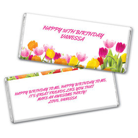 Personalized Birthday Tulips Chocolate Bar & Wrapper