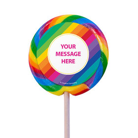 """Rainbow Birthday Personalized 3"""" Lollipops (12 Pack)"""
