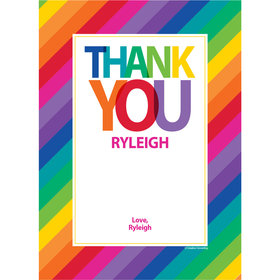Rainbow Birthday Personalized Thank You Note