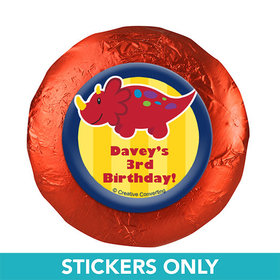 "Personalized Birthday Dinosaurs & Balloons 1.25"" Stickers (48 Stickers)"