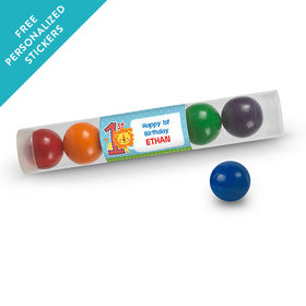Birthday Personalized Gumball Tube Lion 1st Birthday (12 Pack)