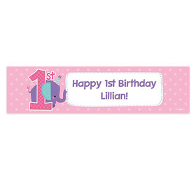 Personalized Birthday Purple Elephant 5 Ft. Banner