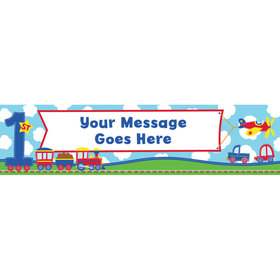 Personalized All Aboard First Birthday 5 Ft. Banner