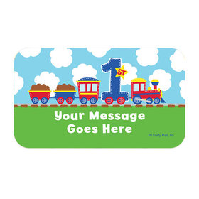 All Aboard First Birthday Personalized Rectangular Stickers (18 Stickers)