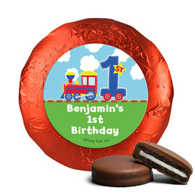 Personalized First Birthday Train Belgian Chocolate Covered Oreos (24 Pack)