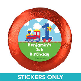 "Personalized First Birthday Train 1.25"" Stickers (48 Stickers)"