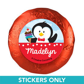 """Personalized Birthday Penguin 1.25"""" Stickers (48 Stickers)"""