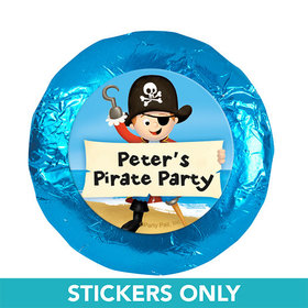 "Personalized Birthday Pirate Party 1.25"" Stickers (48 Stickers)"