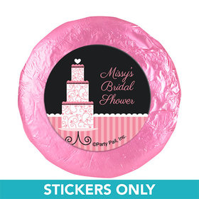 "Personalized Bridal Shower Pink Cake 1.25"" Stickers (48 Stickers)"