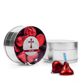 Personalized Boy Confirmation Favor Assembled Small Round Plastic Tin with Hershey's Kisses