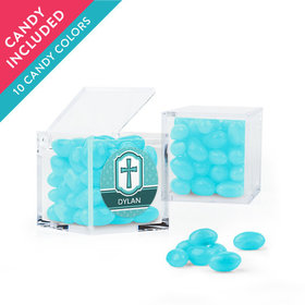 Personalized Boy Confirmation Favor Assembled Small Box with Just Candy Jelly Beans