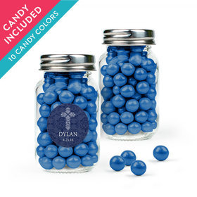 Personalized Boy Confirmation Favor Assembled Mini Mason Jar with Sixlets