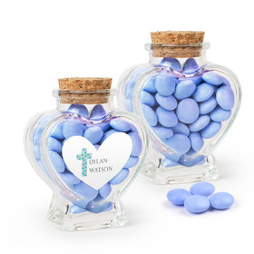 Personalized Boy Confirmation Favor Assembled Heart Jar with Just Candy Milk Chocolate Minis
