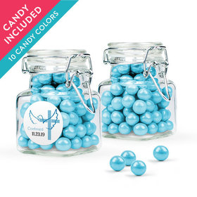 Personalized Boy Confirmation Favor Assembled Swing Top Square Jar with Sixlets