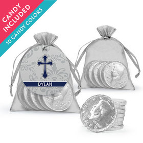Personalized Boy Confirmation Favor Assembled Organza Bag, Gift tag with Milk Chocolate Coins