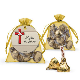 Personalized Boy Confirmation Favor Assembled Organza Bag with Hershey's Kisses