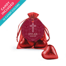 Personalized Boy Confirmation Favor Assembled Organza Bag with Milk Chocolate Hearts
