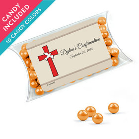 Personalized Boy Confirmation Favor Assembled Pillow Box with Sixlets