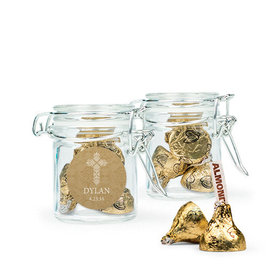 Personalized Boy Confirmation Favor Assembled Swing Top Round Jar with Hershey's Kisses