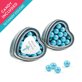 Personalized Boy Confirmation Favor Assembled Heart Tin with Sixlets