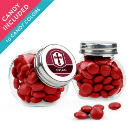 Personalized Boy Confirmation Favor Assembled Mini Side Jar with Just Candy Milk Chocolate Minis