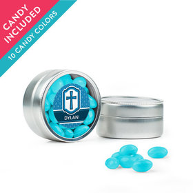 Personalized Boy Confirmation Favor Assembled Mini Round Tin with Just Candy Jelly Beans
