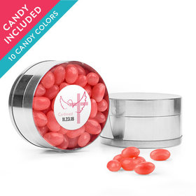 Personalized Girl Confirmation Favor Assembled Small Round Plastic Tin with Just Candy Jelly Beans