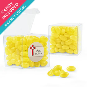 Personalized Girl Confirmation Favor Assembled Clear Box with Just Candy Jelly Beans