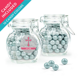 Personalized Girl Confirmation Favor Assembled Swing Top Jar with Sixlets