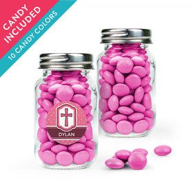 Personalized Girl Confirmation Favor Assembled Mini Mason Jar with Just Candy Milk Chocolate Minis