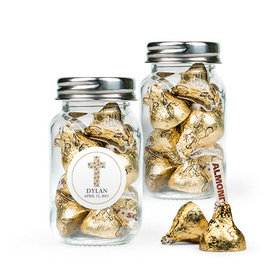 Personalized Girl Confirmation Favor Assembled Mini Mason Jar with Hershey's Kisses