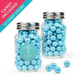 Personalized Girl Confirmation Favor Assembled Mini Mason Jar with Sixlets