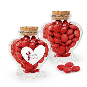 Personalized Girl Confirmation Favor Assembled Heart Jar with Just Candy Milk Chocolate Minis