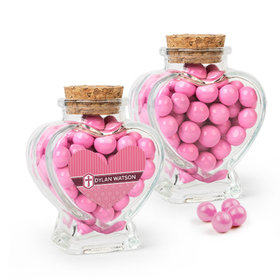Personalized Girl Confirmation Favor Assembled Heart Jar with Sixlets