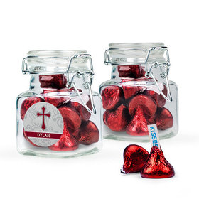 Personalized Girl Confirmation Favor Assembled Swing Top Square Jar with Hershey's Kisses
