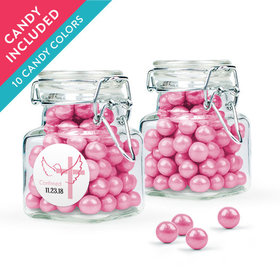 Personalized Girl Confirmation Favor Assembled Swing Top Square Jar with Sixlets