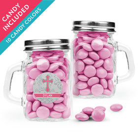 Personalized Girl Confirmation Favor Assembled Mini Mason Mug with Just Candy Milk Chocolate Minis