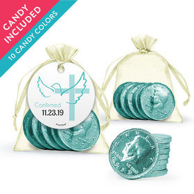 Personalized Girl Confirmation Favor Assembled Organza Bag, Gift tag with Milk Chocolate Coins