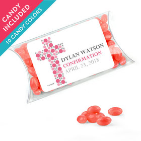Personalized Girl Confirmation Favor Assembled Pillow Box with Just Candy Jelly Beans