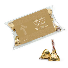 Personalized Girl Confirmation Favor Assembled Pillow Box with Hershey's Kisses