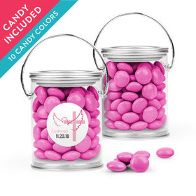 Personalized Girl Confirmation Favor Assembled Paint Can with Just Candy Milk Chocolate Minis