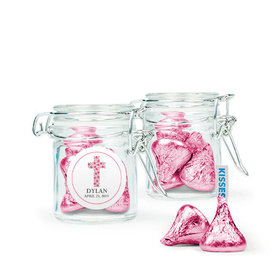 Personalized Girl Confirmation Favor Assembled Swing Top Round Jar with Hershey's Kisses