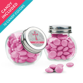 Personalized Girl Confirmation Favor Assembled Mini Side Jar with Just Candy Milk Chocolate Minis