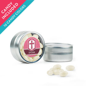 Personalized Girl Confirmation Favor Assembled Mini Round Tin with Just Candy Jelly Beans