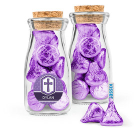 Personalized Girl Confirmation Favor Assembled Glass Bottle with Cork Top with Hershey's Kisses
